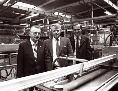 Руководство завода по выпуску профилей Primo Danmar (Тиструп, Дания), слева Бент Линдхардт (Bent Lindhardt), Флеминг Груннет (Fleming Grunnet) и Хельге Борг (Helge Borg), 1985 год Фото: ПРИМО