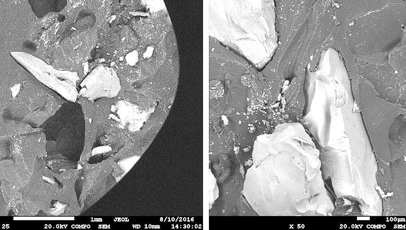 На образцах отчетливо выделяются крупные зерна корунда с вкраплениями более мелких частиц.