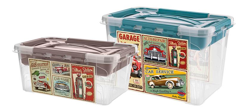 В пластмассовых ящиках серии Grand Box декор нанесён с помощью технологии литья пластмасс под давлением с модулем этикетирования в пресс-форме (In-Mould Labeling, IML)