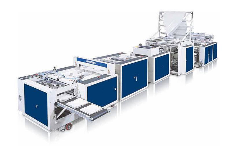 Полностью автоматическая машина COSMO Machinery для производства мусорных пакетов с подворотом 4 раза для пакетов S типа с донным швом, модели SOSR-1300+2T+S+2F