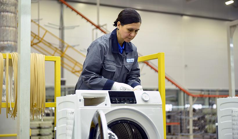 Производство стиральных машин на заводе «Хайер Индастри Рус» в Татарстане