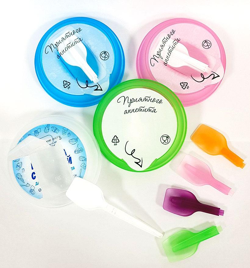 Крышки и ложки «Куттерер-Рус» в различных цветах, могут комплектоваться бумажной и полипропиленовой этикеткой