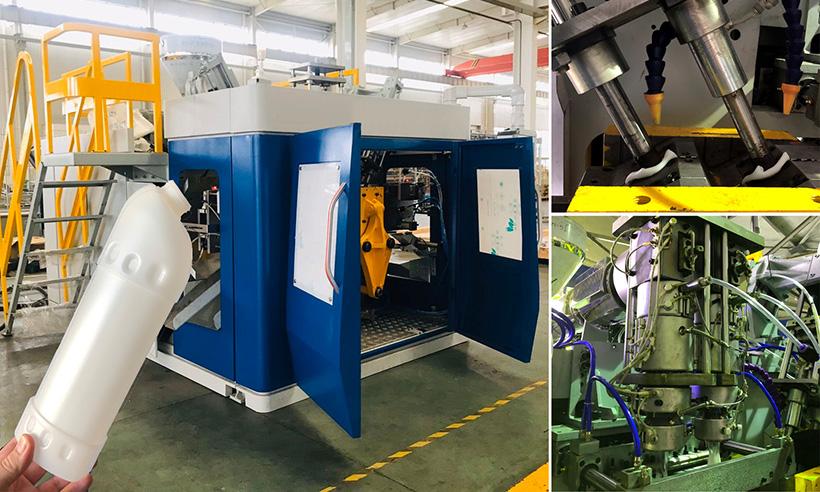 Двухстанционная экструзионно-выдувная машина серии BL2L-D2, предназначенная для производства флакона 1000 мл с наклонным горлом для бытовой химии. Производственный цикл составляет 19 секунд, или 9 тыс. флаконов в сутки