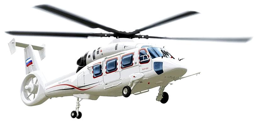 Российский перспективный многоцелевой вертолёт Ка-62, разработанный ОАО «Камов» на выставке HeliRussia 2020