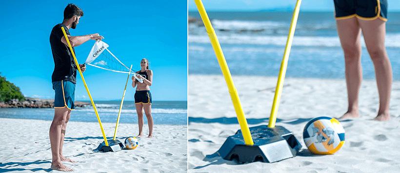 Пляжная волейбольная сетка с основанием, изготовленным из вторично переработанного полиэтилена высокой плотности