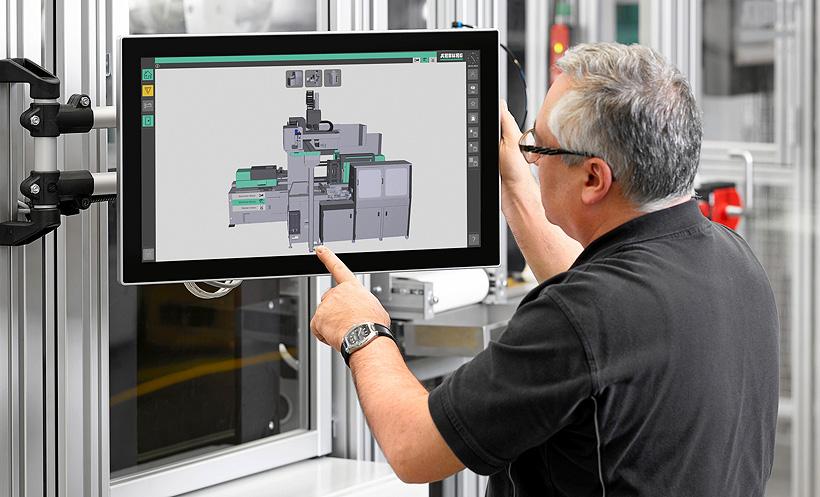 В полностью автоматизированной производственной ячейке по производству питьевых стаканчиков система SCADA модуля управления под ключ Arburg (ATCM) визуализирует все необходимые данные по процессу и качеству