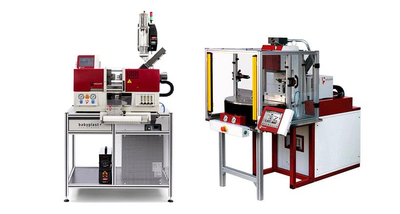 Вертикальный термопластавтомат Babyplast с объёмом впрыска 36 см. куб. оптимально подходит для производства деталей с закладными элементами по технологии овермолдинг (overmolding).