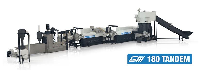 Линия TANDEM производства Gamma Meccanica для переработки отходов пластиковых материалов с большим количеством печати, загрязнений и с высокой влажностью гарантирует отличное качество гранул при значительной экономии электроэнергии, по сравнению с традици