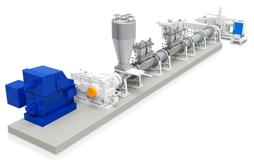 Одношнековый экструдер KE 400 от KraussMaffei обеспечивает эффективное удаление высокомолекулярных остаточных мономеров