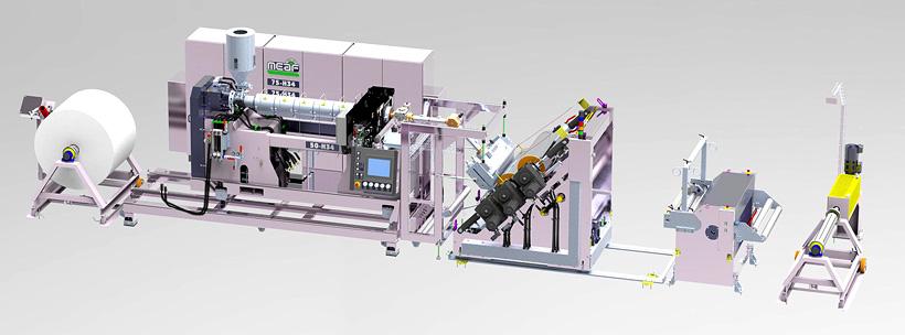 Экструзионная линия MEAF Machines для тестирования и демонстрации экструдеров с интегрированной установкой физического вспенивания PROMIX