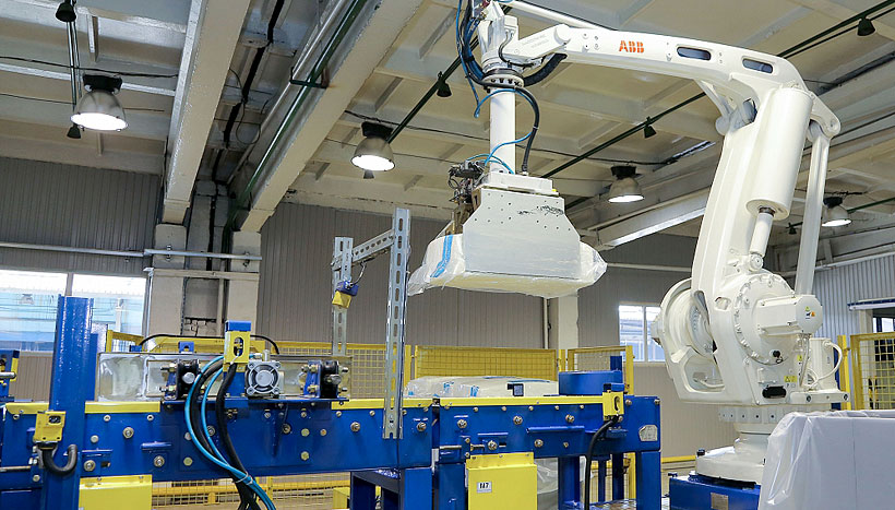 Роботизированная линия по упаковке синтетического каучука на заводе «Нижнекамскнефтехим»