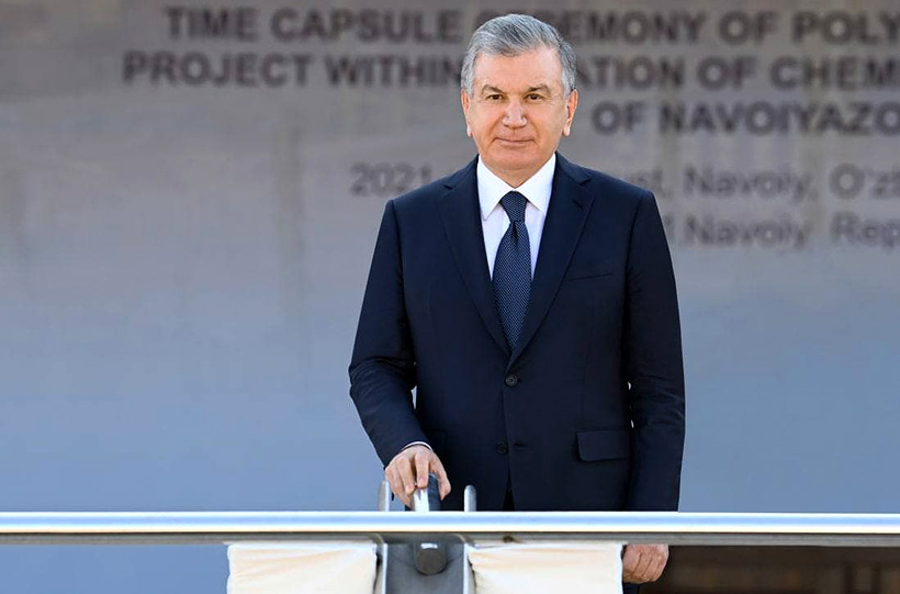 Президент Узбекистана Шавкат Мирзиёев заложил капсулу в основание нового участка завода «Навоиазот» по производству ПВХ