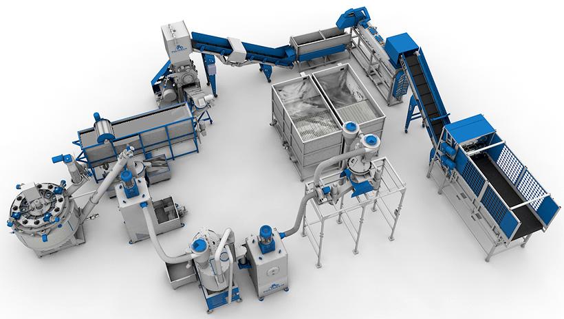 Линия Polimech по переработке использованных бутылок из ПЭТФ производительностью 500 кг/ч