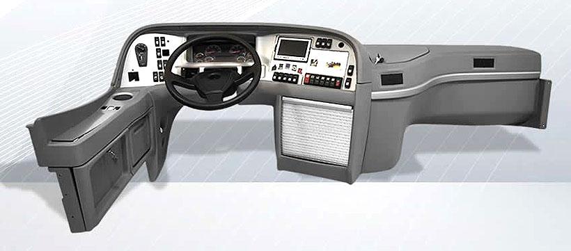 Приборная панель коммерческого автомобиля с пенополиуретановым наполнителем производства Purplast
