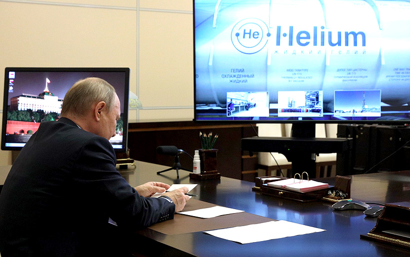 Президент России Владимир Путин в режиме телемоста принял участие в церемония запуска первой технологической линии Амурского газоперерабатывающего завода