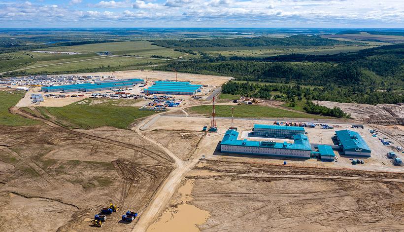 Строительная площакдка Амурского газохимического комплекса СИБУРа в августе 2020 года