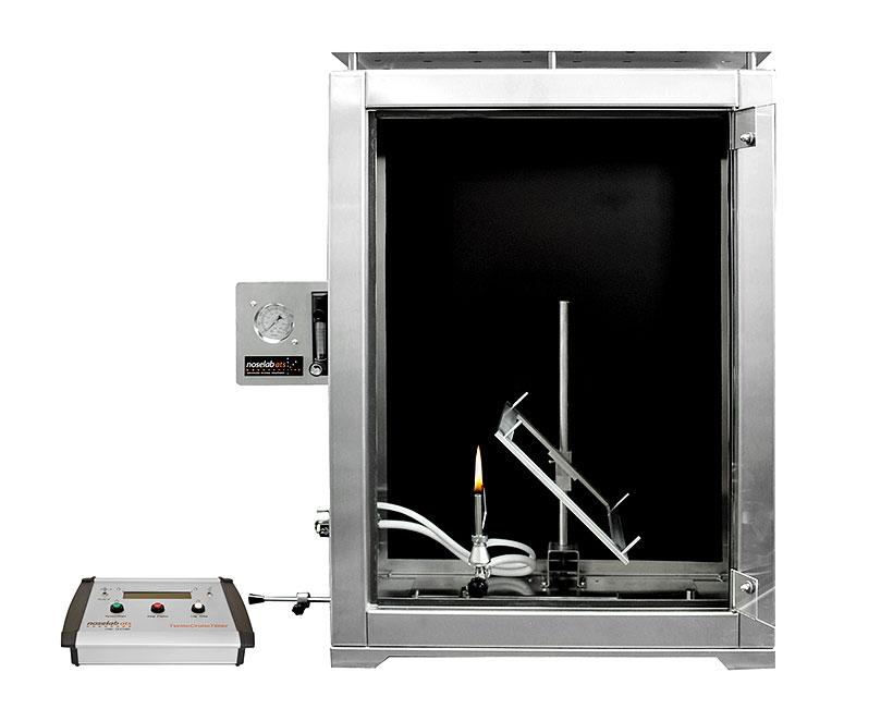 Настольный лабораторный прибор для испытания огнестойкости образцов изделий из пластмасс под разными углами