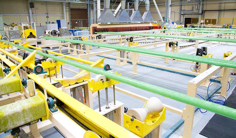 Линия по производству стеклопластиковые труб и ограждений на заводе «Татнефть-Пресскомпозит»