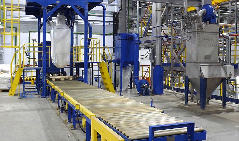 Линия упаковки термоэластопластов для дорожного покрытия и кровельных материалов на участке ДССК завода «Нижнекамскнефтехим»