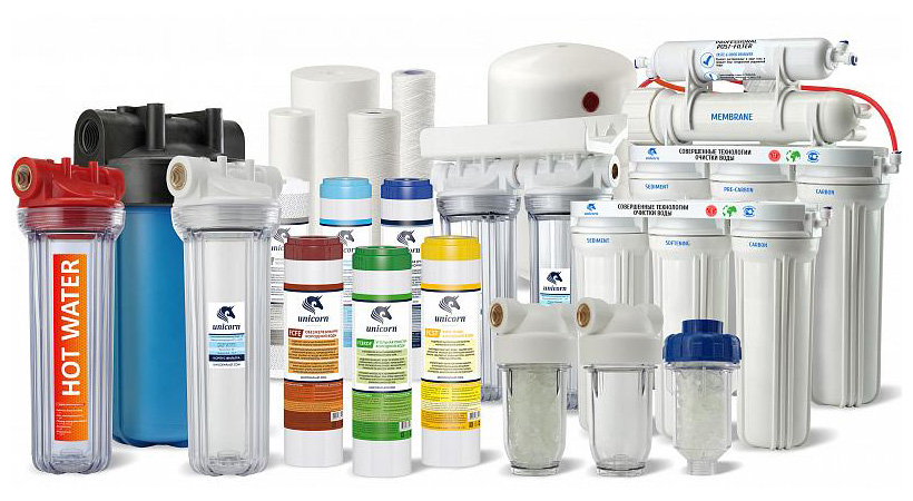 Ассортимент фильтров воды и систем очистки марки Unicorn производства НПП «Юникорн»
